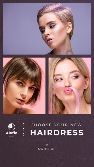 Hair Salon Ad Women with Dyed Hair Instagram Story Modelo de Design