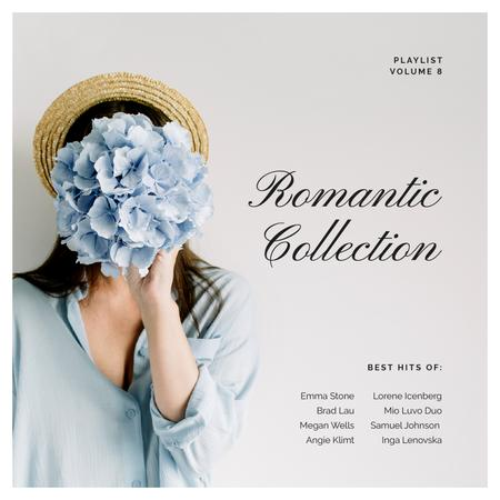 Ontwerpsjabloon van Album Cover van Romantic Girl holding Flower