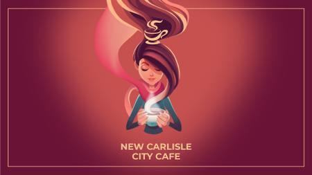 Ontwerpsjabloon van Full HD video van Cafe Promotion Woman with Hot Cup in Red
