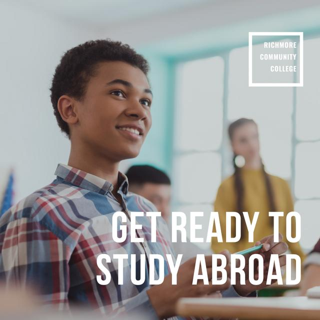 Designvorlage Abroad Education Program Students in Classroom für Instagram