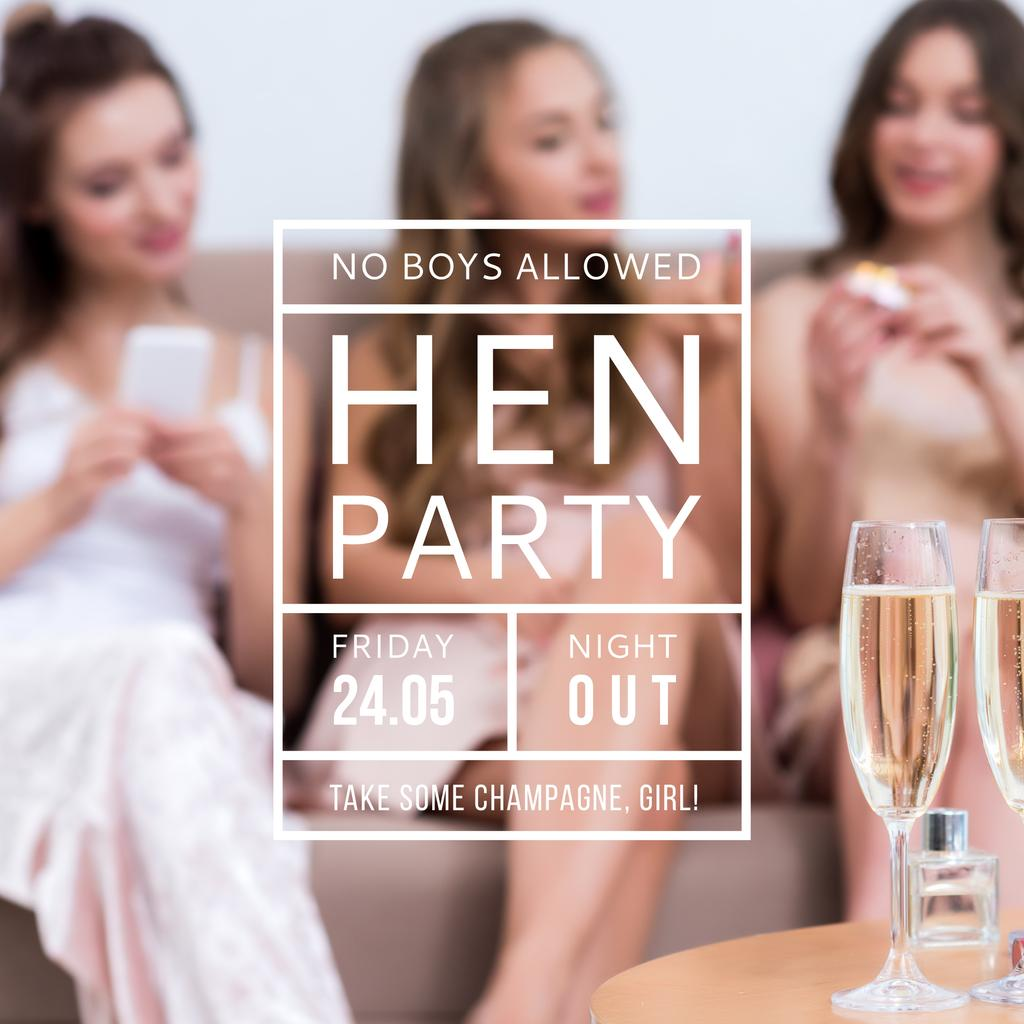 Hen party for girls with Girls drinking champagne — Crear un diseño