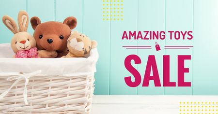 Sale Announcement Stuffed Toys in Basket Facebook AD Modelo de Design