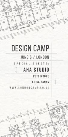 Plantilla de diseño de Design camp announcement on blueprint Graphic