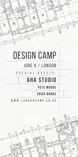Design camp announcement on blueprint Graphic Design Template