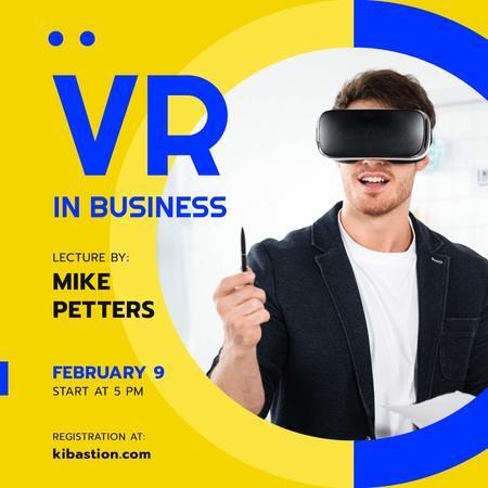 Virtual Reality Guide Businessman in VR Glasses Instagramデザインテンプレート