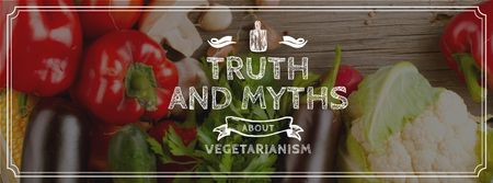 Ontwerpsjabloon van Facebook cover van Vegetarian Food Vegetables on Wooden Table