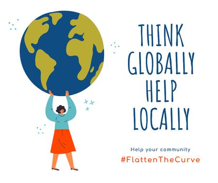 #FlattenTheCurve Citation about helping community with Woman holding Earth Facebook Modelo de Design