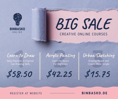 Plantilla de diseño de Creative Courses Offer Torn Paper in Blue Facebook