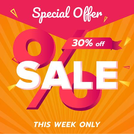Template di design Special Offer Sale with Percent Sign in Pink Animated Post