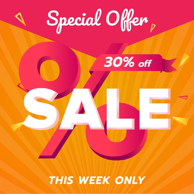 Modèle de visuel Special Offer Sale with Percent Sign in Pink - Animated Post