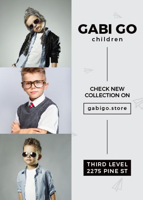 Children clothing store with stylish kids Flayer Modelo de Design