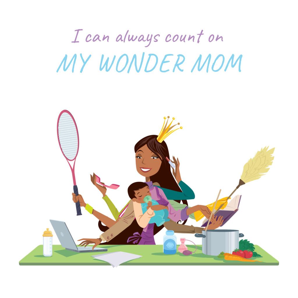 Multitasking wonder mom with baby — Modelo de projeto