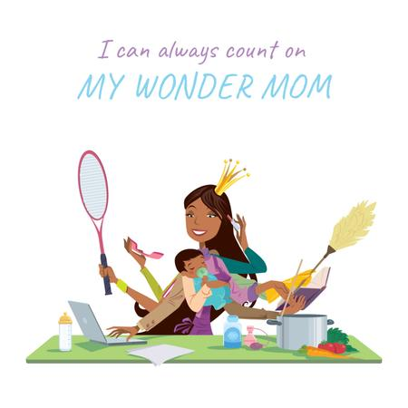 Plantilla de diseño de Multitasking wonder mom with baby Animated Post