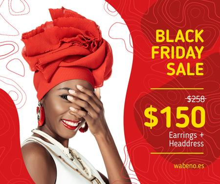Black Friday Offer Stylish Woman in Red Facebook – шаблон для дизайна