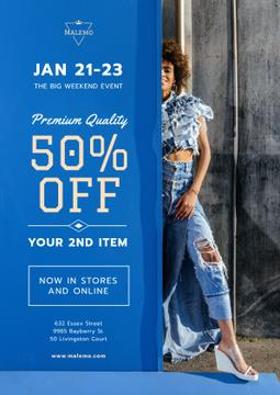 Fashion Sale Woman Wearing Denim Clothes