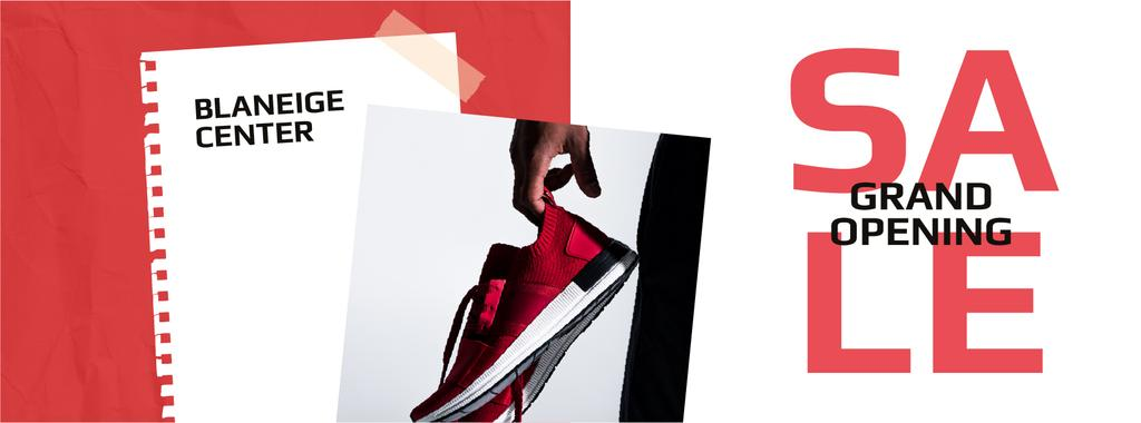 Shoes Sale Sportsman Holding Sneakers — Crear un diseño
