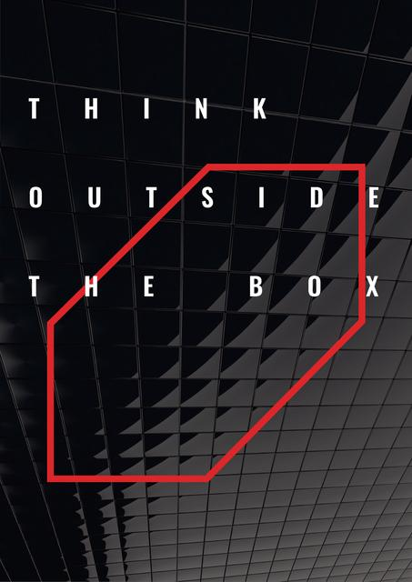 Think outside the box citation Posterデザインテンプレート
