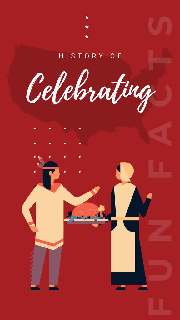 Plantilla de diseño de Indian and Pilgrim celebrating thanksgiving Instagram Story