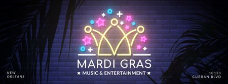 Mardi Gras crown neon light Facebook Video cover Tasarım Şablonu