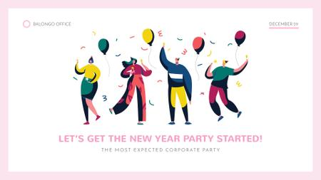 Happy people with colorful balloons at New Year Party FB event cover Modelo de Design