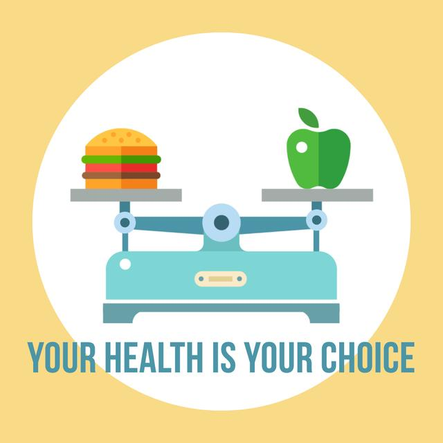Modèle de visuel Scales with healthy and fast food - Animated Post