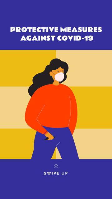 Coronavirus protective measures with Woman wearing Mask Instagram Story – шаблон для дизайна