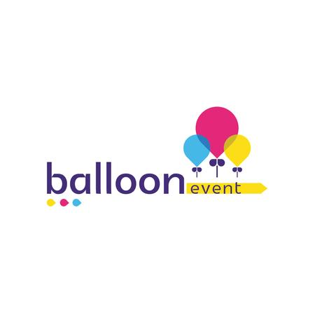 Event Organization Services with Colorful Balloons Logo Design Template