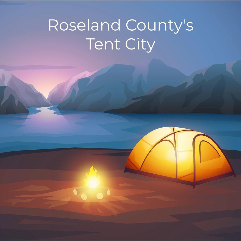Fire burning by tent camp — Modelo de projeto