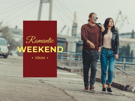 Romantic weekends ideas with Couple walking Presentation Design Template