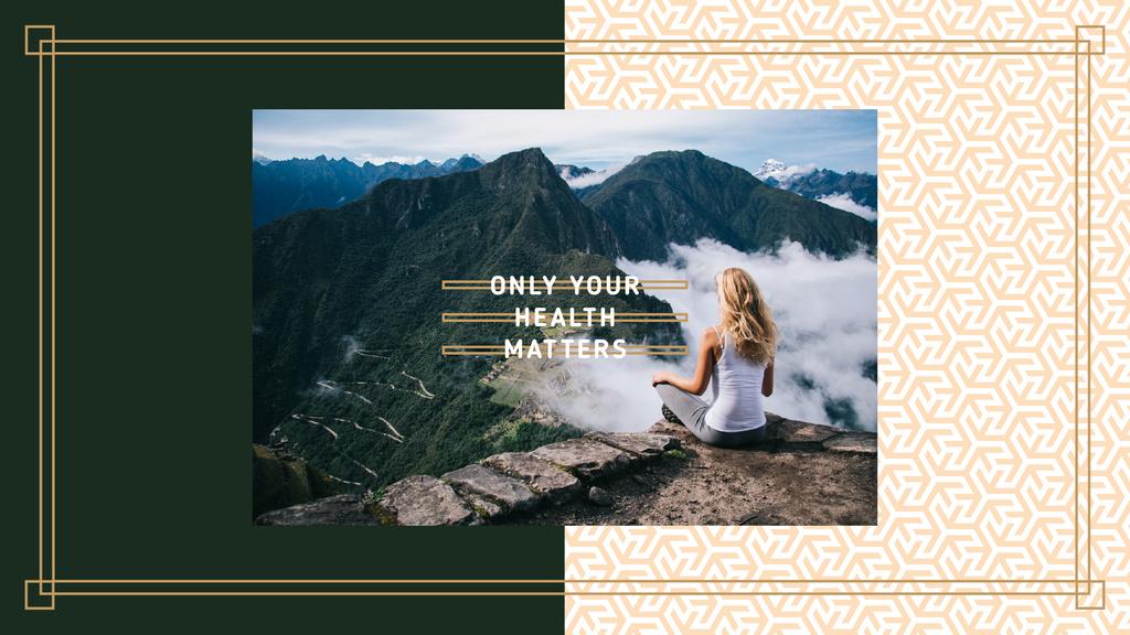 Woman meditating on the cliff edge — Создать дизайн