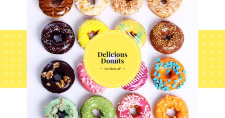 Ontwerpsjabloon van Facebook AD van Sweet Colorful Donuts in Rows