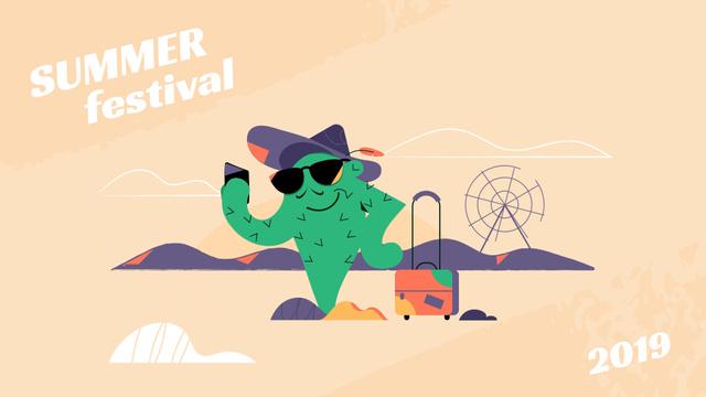 Modèle de visuel Cactus taking selfie at festival - Full HD video
