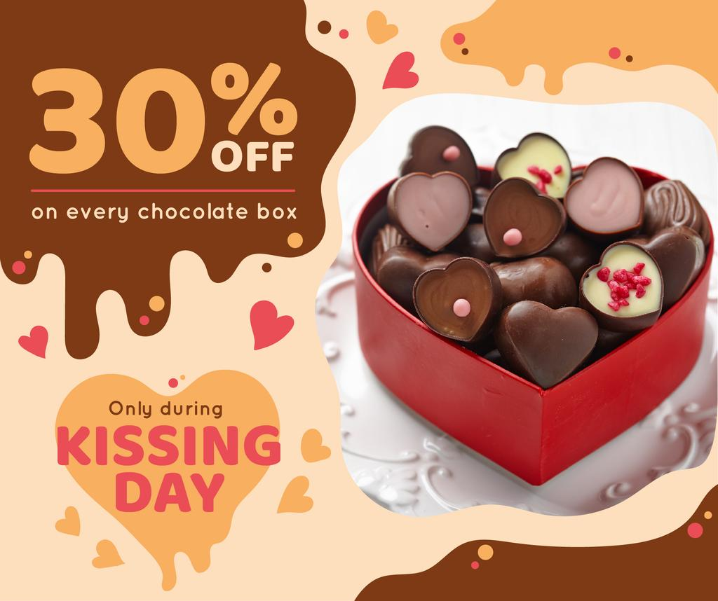 Kissing Day Present Box with Chocolates | Facebook Post Template — Create a Design