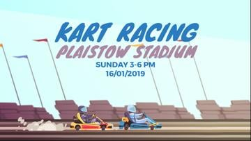 Racing Event Announcement with Karts on Track
