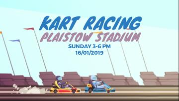 Racing Event Announcement with Karts on Track | Full Hd Video Template