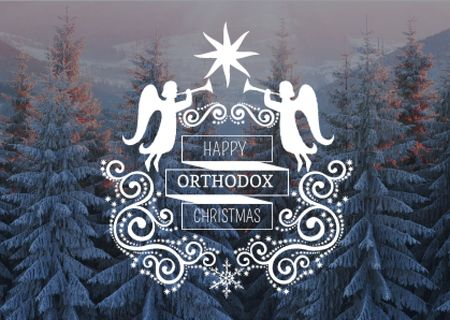 Plantilla de diseño de Happy Orthodox Christmas Angels over Snowy Trees Card