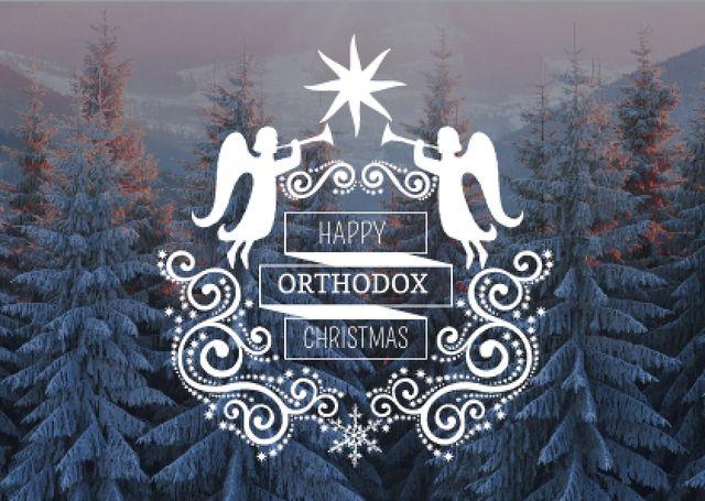 Designvorlage Happy Orthodox Christmas Angels over Snowy Trees für Card