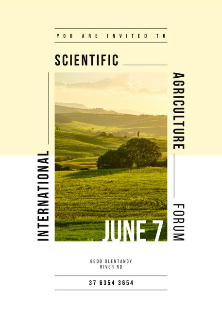 Agriculture forum announcement on Valley landscape Invitation – шаблон для дизайна