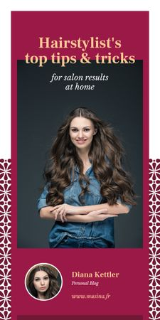 Hairstyle Tips Woman with Long Hair Graphic Design Template