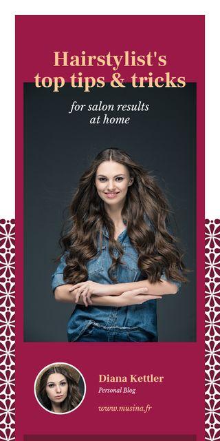 Ontwerpsjabloon van Graphic van Hairstyle Tips Woman with Long Hair