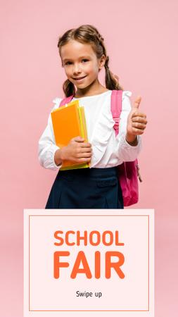 Smiling Schoolgirl with Books Instagram Story Design Template