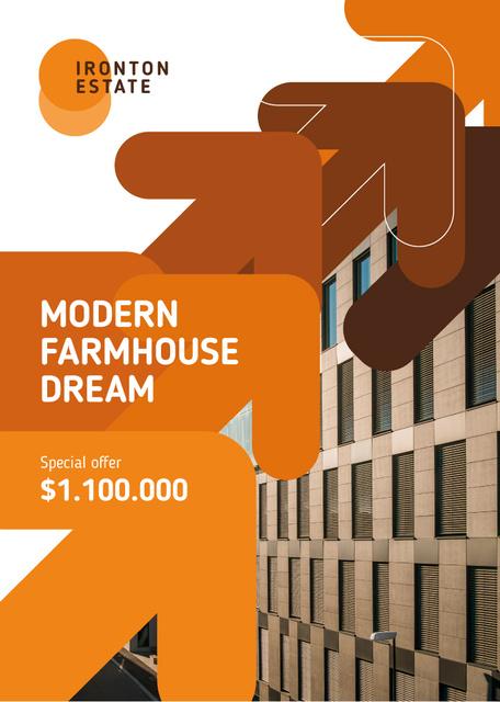 Plantilla de diseño de Real Estate Ad Modern Glass Building Flayer