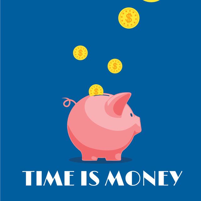 Designvorlage Coins Filling Piggy Bank für Animated Post