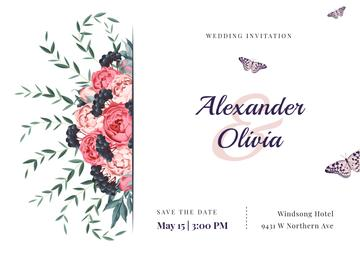 Wedding Invitation Frame with Colorful Flowers