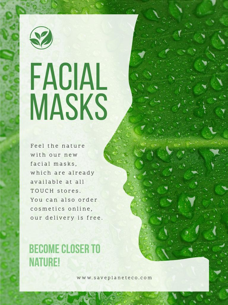 Facial masks ad with Green Leaf — Create a Design