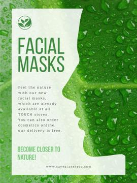 Facial masks ad with Green Leaf
