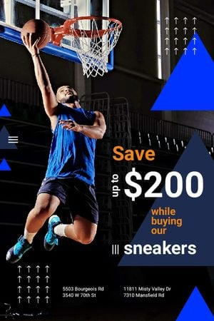 Ontwerpsjabloon van Tumblr van Sneakers Sale Man Playing Basketball