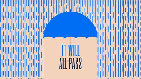 Ontwerpsjabloon van Full HD video van Inspiration Quote Blue Umbrella Under Falling Rain