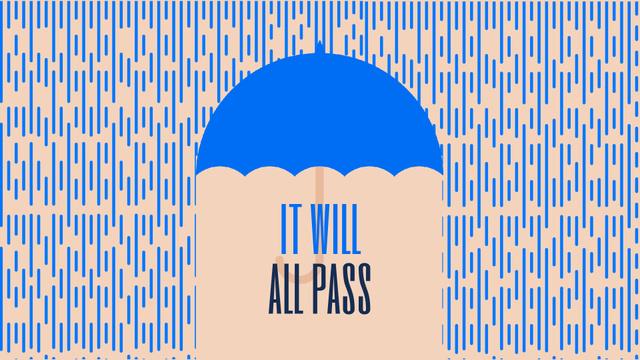 Inspiration Quote Blue Umbrella Under Falling Rain Full HD video Design Template