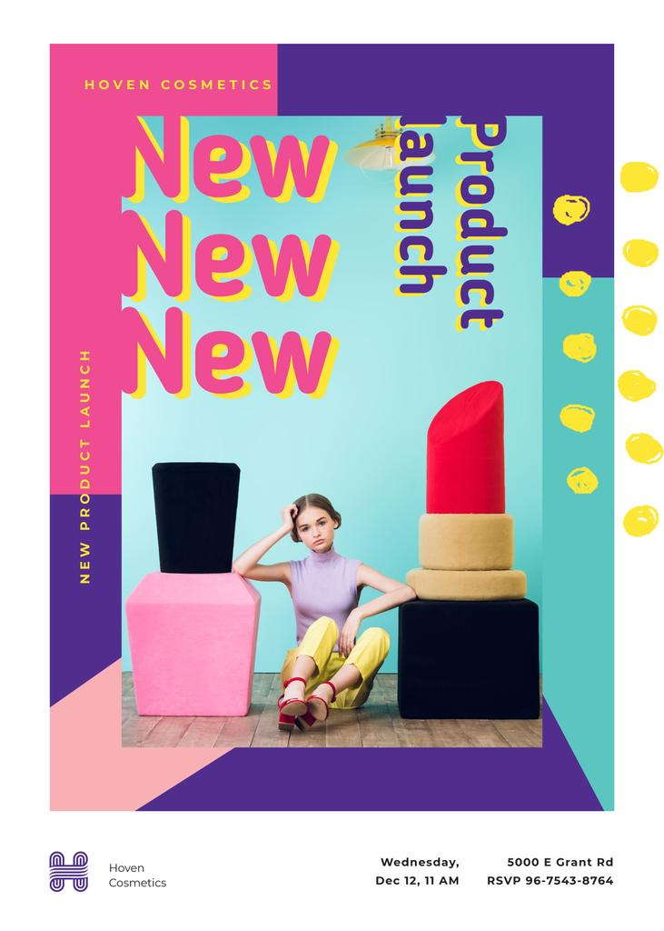 Ontwerpsjabloon van Invitation van Girl by giant lipstick and polish